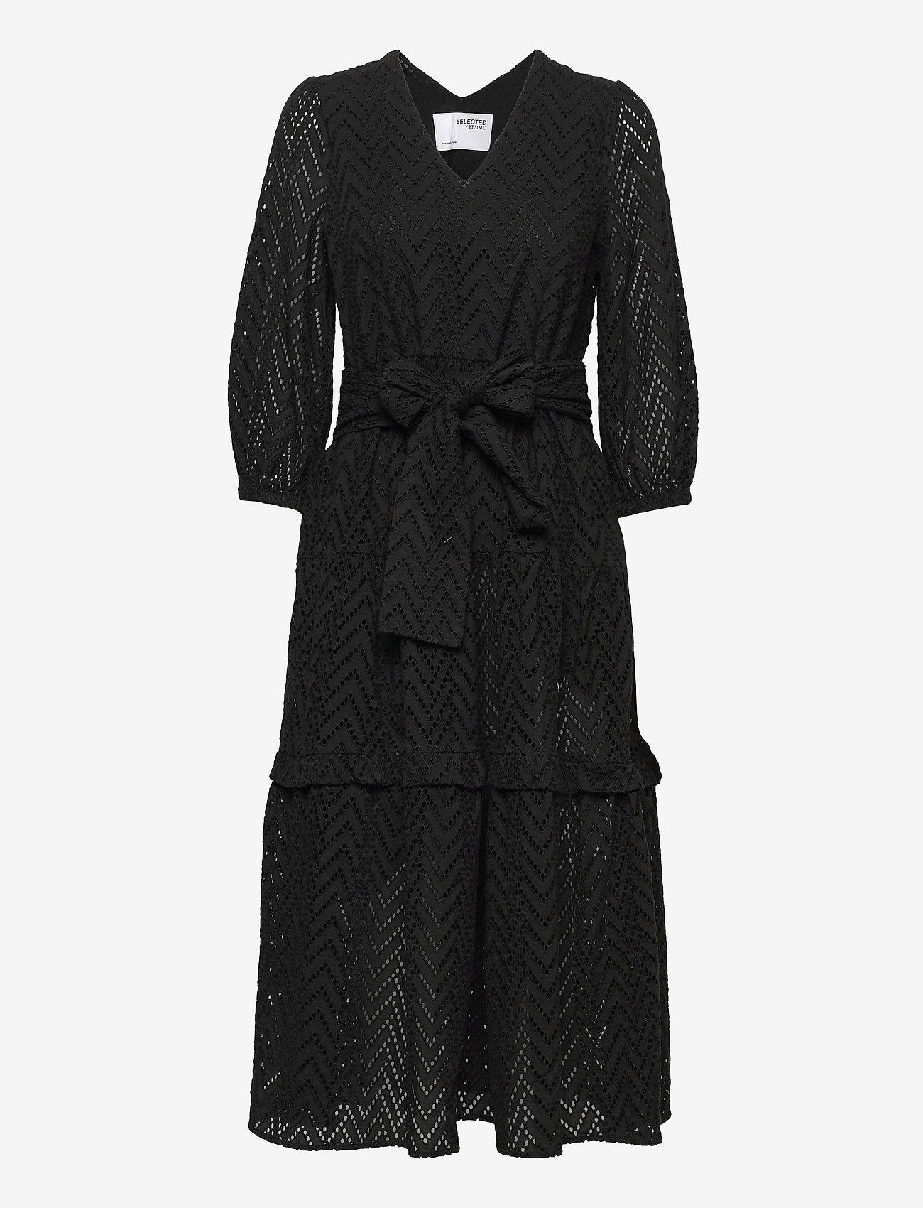Selected Femme - SLFCECE-SADIE 3/4 MIDI DRESS - midi dresses - black - 0