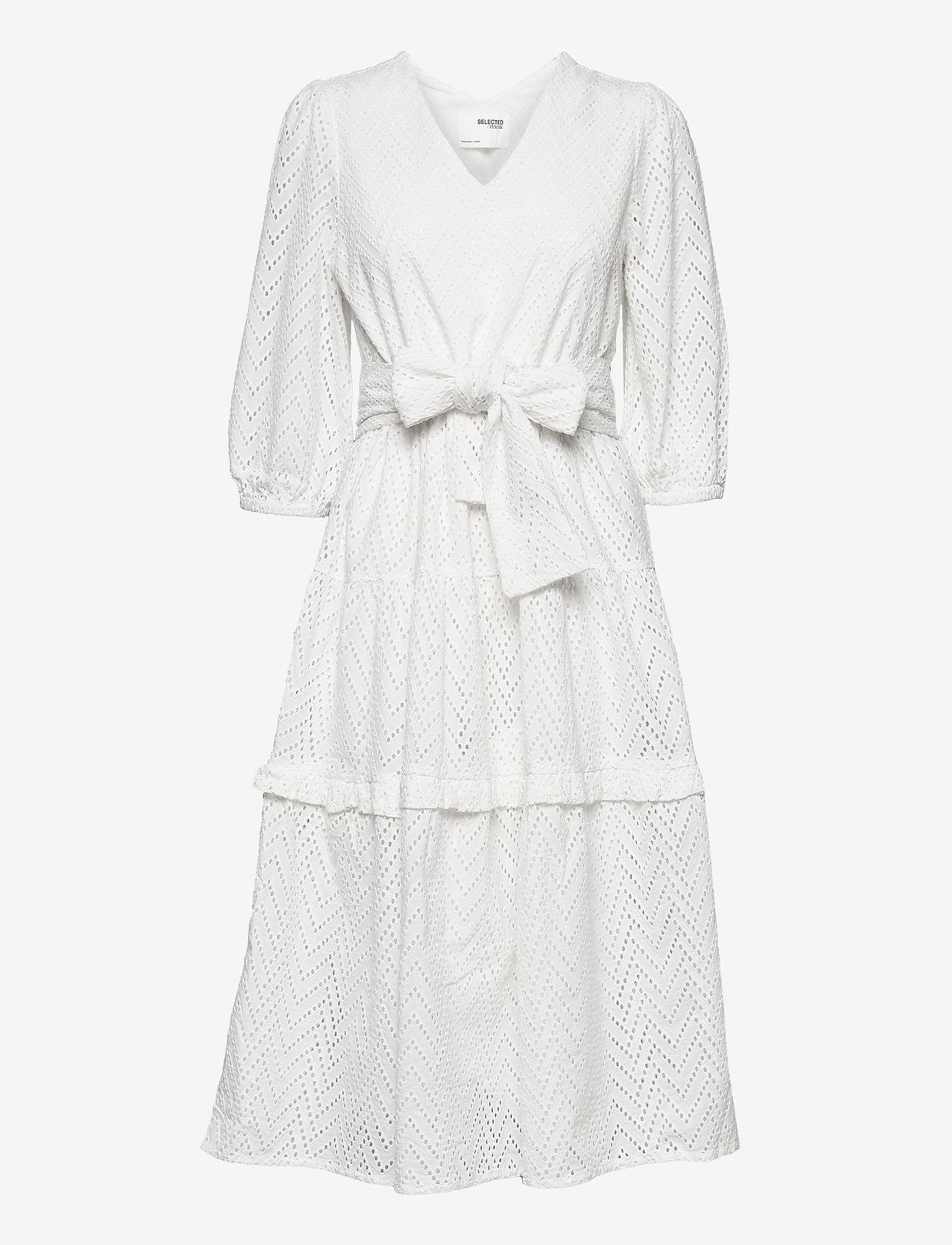 Selected Femme - SLFCECE-SADIE 3/4 MIDI DRESS - sommerkjoler - snow white - 0