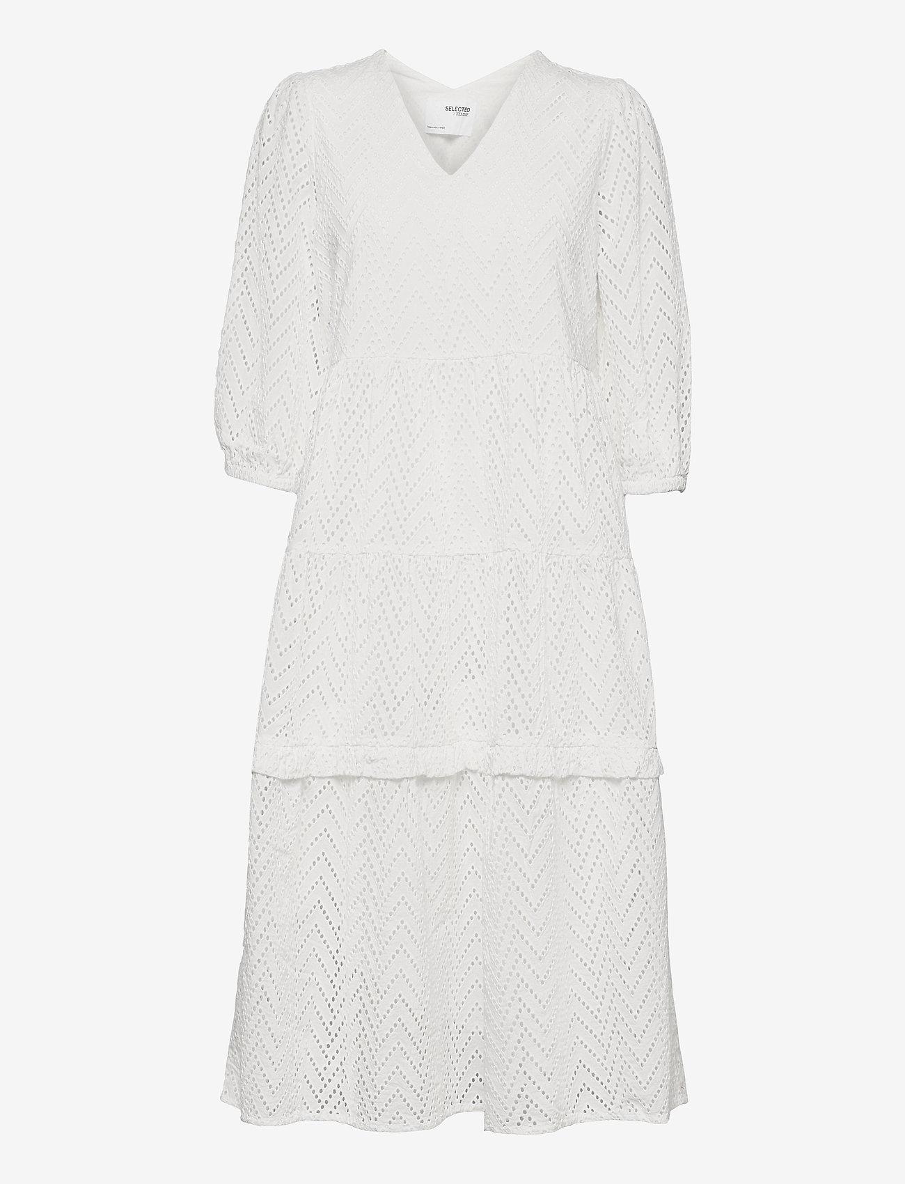 Selected Femme - SLFCECE-SADIE 3/4 MIDI DRESS - midi dresses - snow white - 2