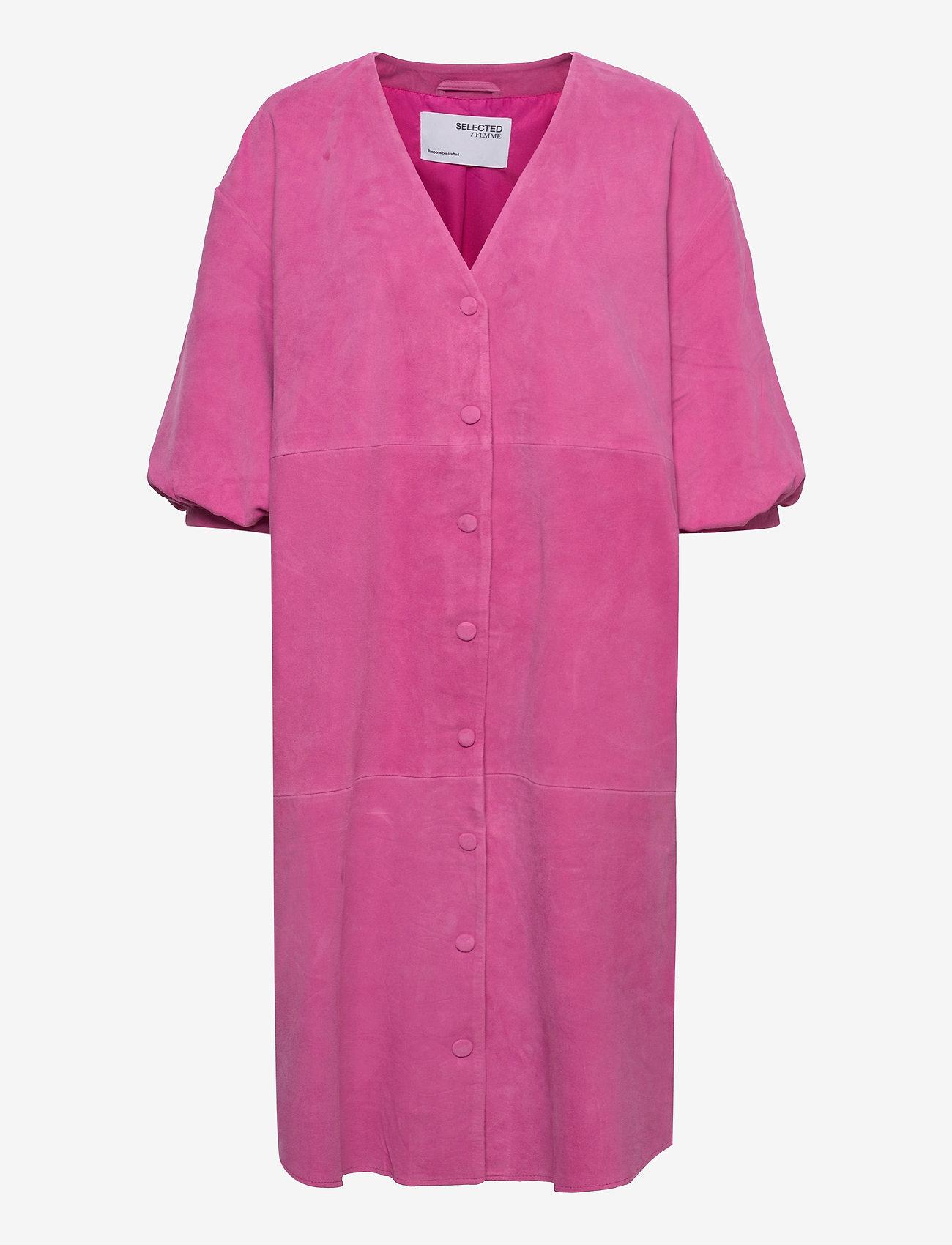 Selected Femme - SLFVANESSA 2/4 LEATHER SHIRT DRESS - alltagskleider - rose violet - 0