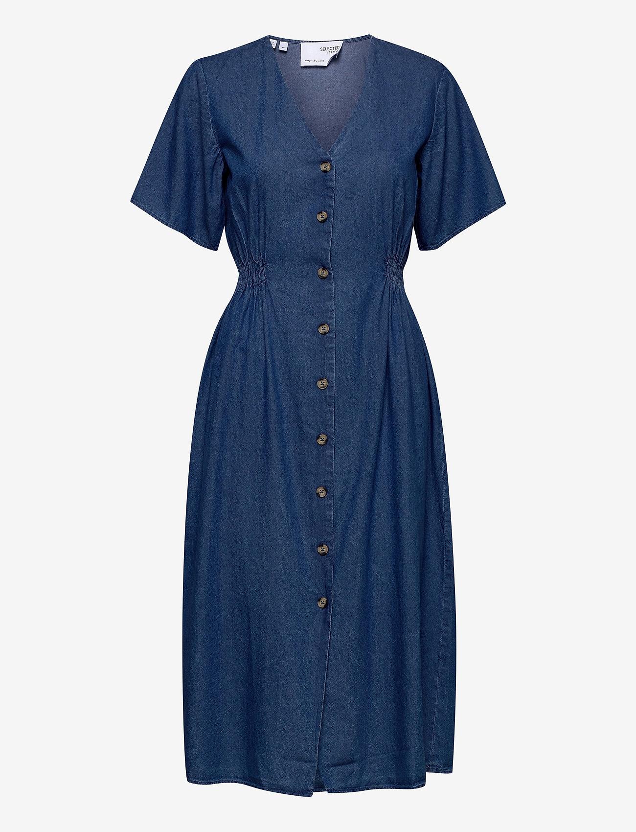 Selected Femme - SLFCLARISA SS V NECK DRESS U - summer dresses - medium blue denim - 0