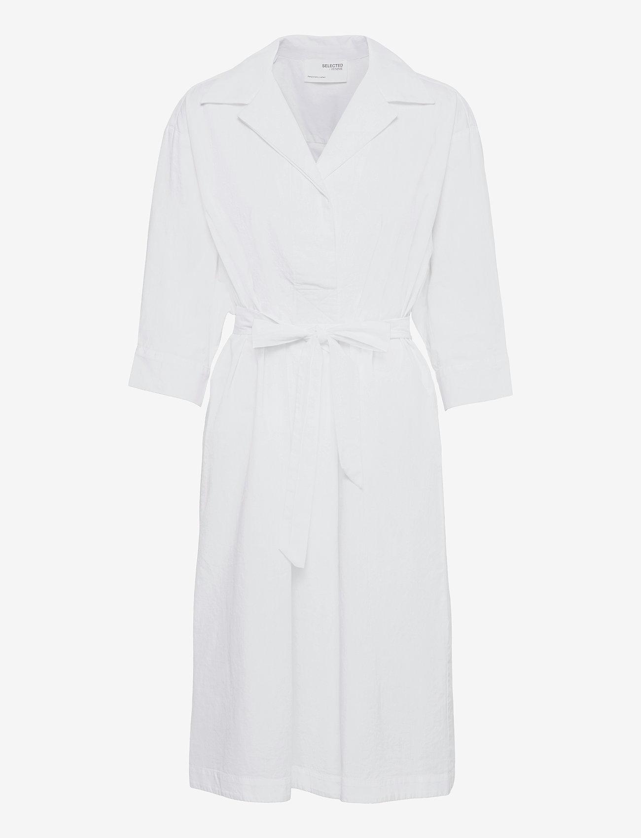 Selected Femme - SLFAMBER 3/4 SHIRT DRESS W - midi-kleider - bright white - 0