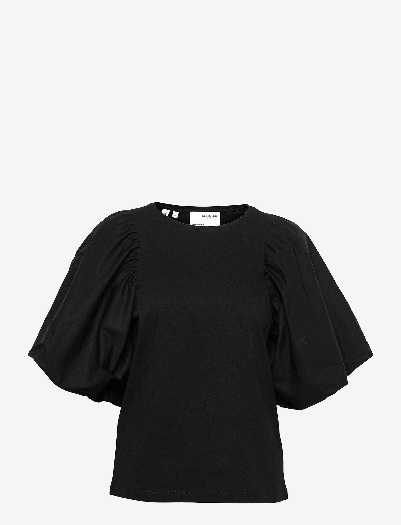 Selected Femme - SLFADRIANNA 2/4 TEE - kurzämlige blusen - black - 0