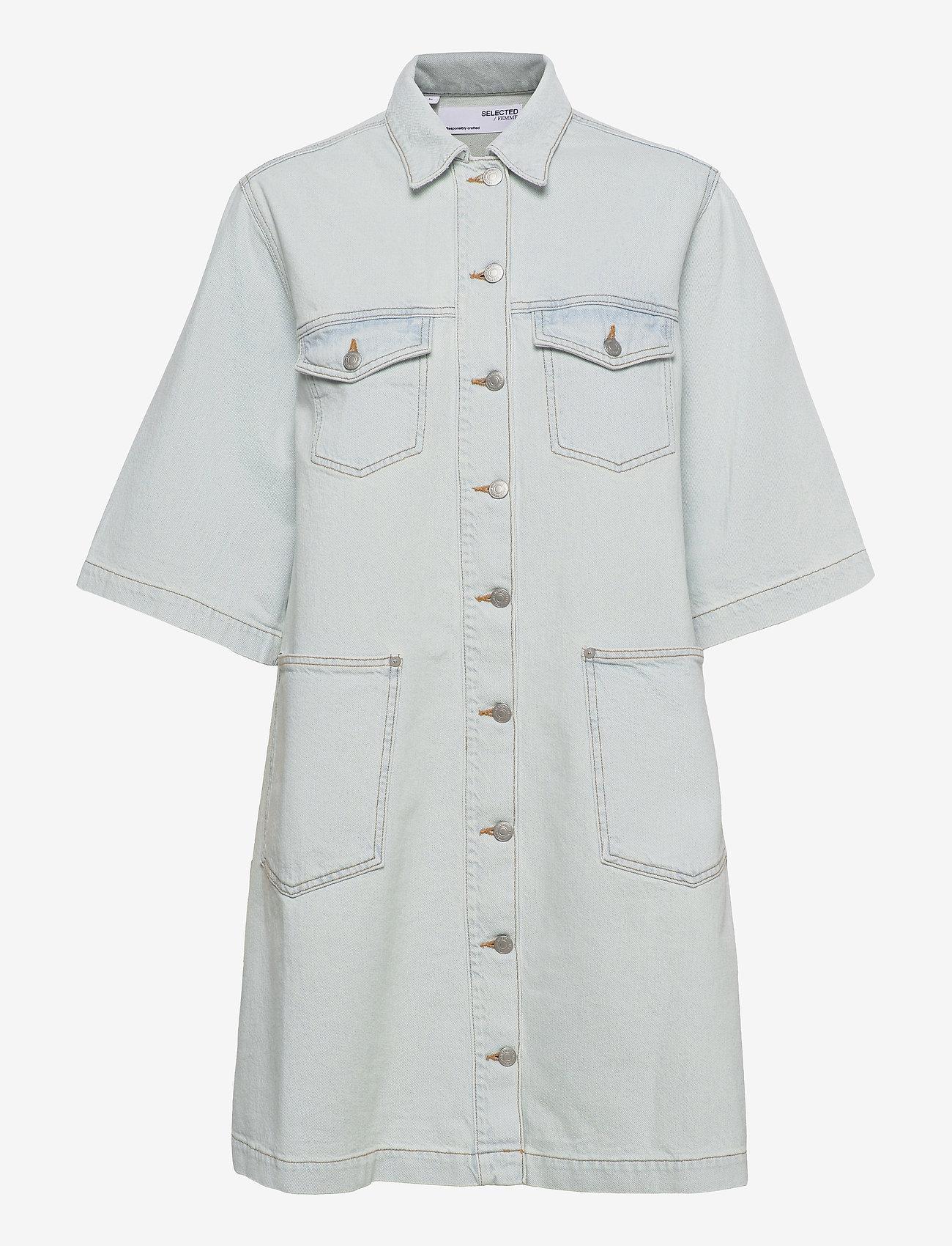 Selected Femme - SLFRUBYRIGHTLUE 3/4 SS DENIM DRESS U - sommerkleider - light blue denim - 0