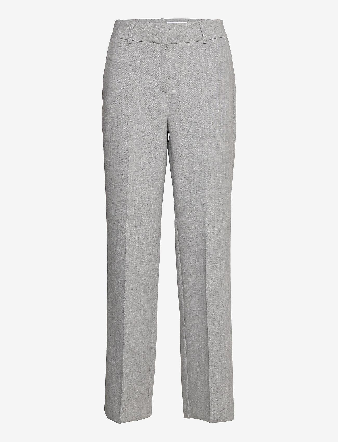 Selected Femme - SLFRITA MW WIDE PANT LGM B - straight leg hosen - light grey melange - 0