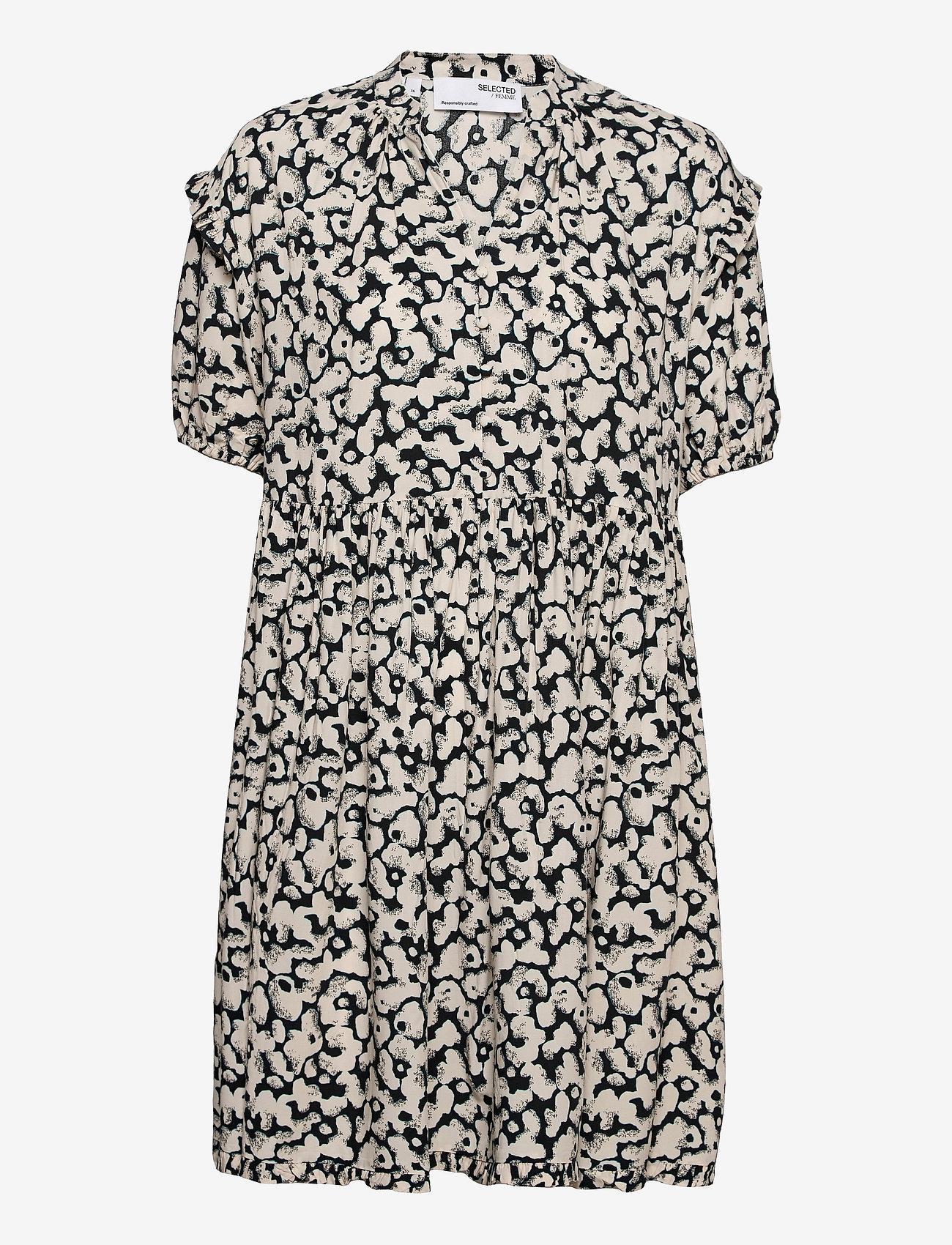 Selected Femme - SLFPAULINA AOP 2/4 SHORT DRESS - sommerkjoler - black - 0