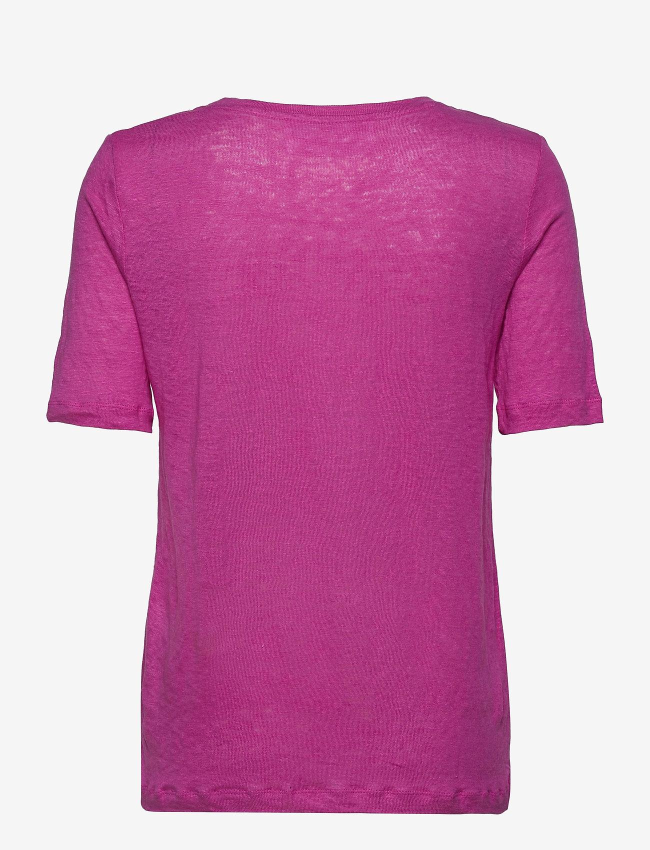 Selected Femme - SLFLINEN SS U-NECK TEE - t-shirts - rose violet - 1