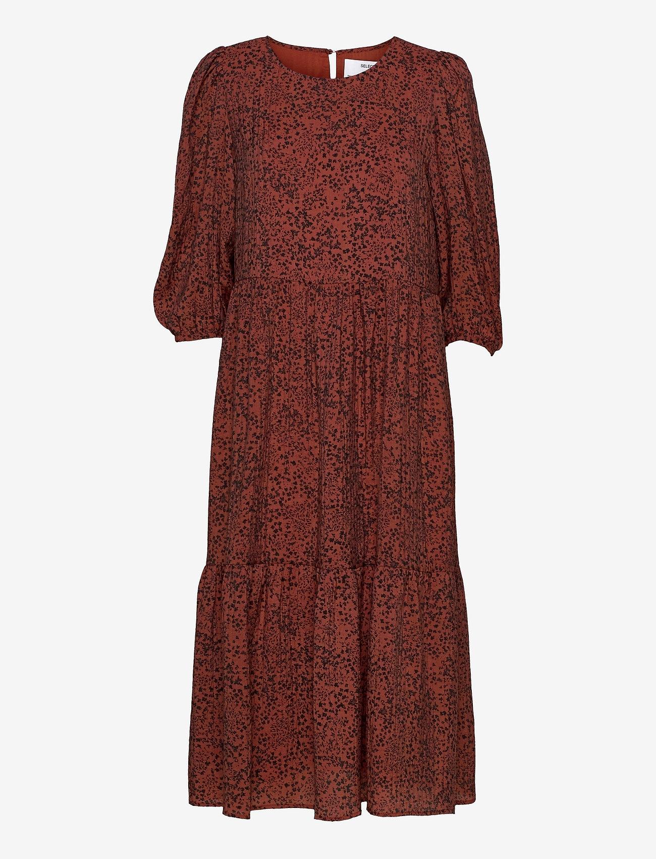 Selected Femme - SLFVIOLE 3/4 MIDI AOP DRESS B - midi-kleider - chili oil - 0