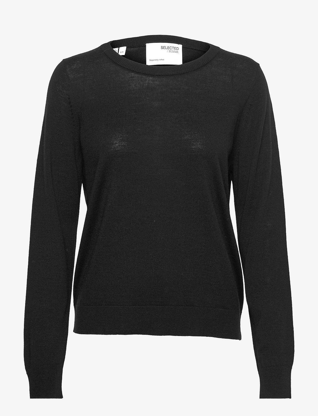 Selected Femme - SLFMAGDA WOOL LS KNIT O-NECK S - pullover - black - 0