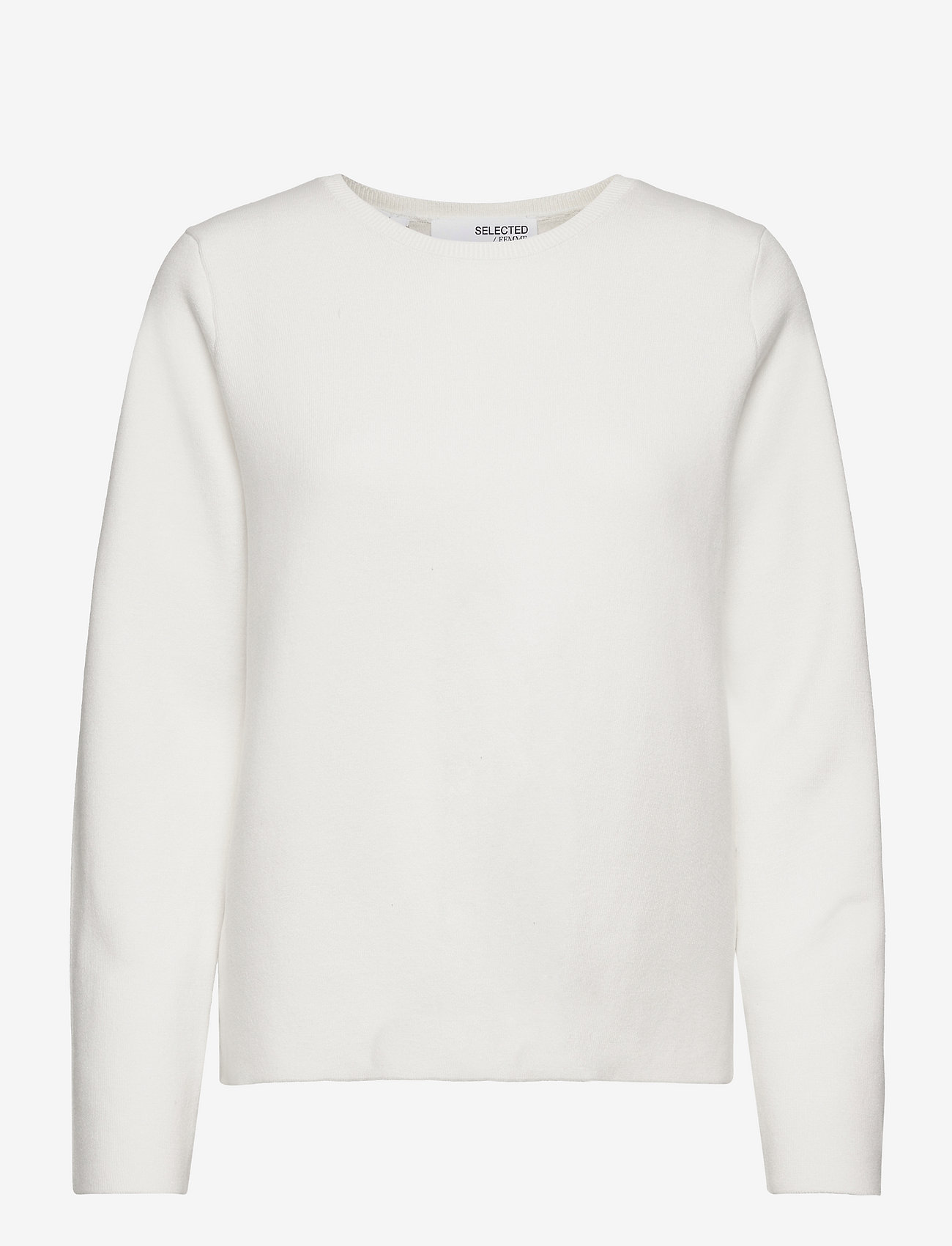 Selected Femme - SLFMERLE LS KNIT O-NECK M - pullover - snow white - 0