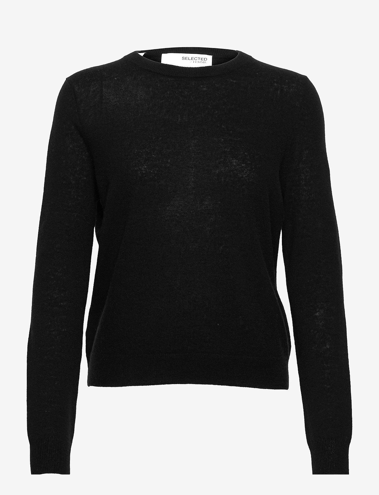 Selected Femme - SLFFUDGE CASHMERE LS KNIT O-NECK B - pullover - black - 0
