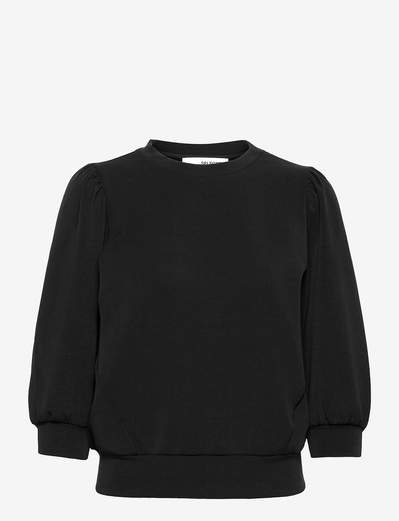 Selected Femme - SLFTENNY 3/4 SWEAT TOP - sweatshirts - black - 0