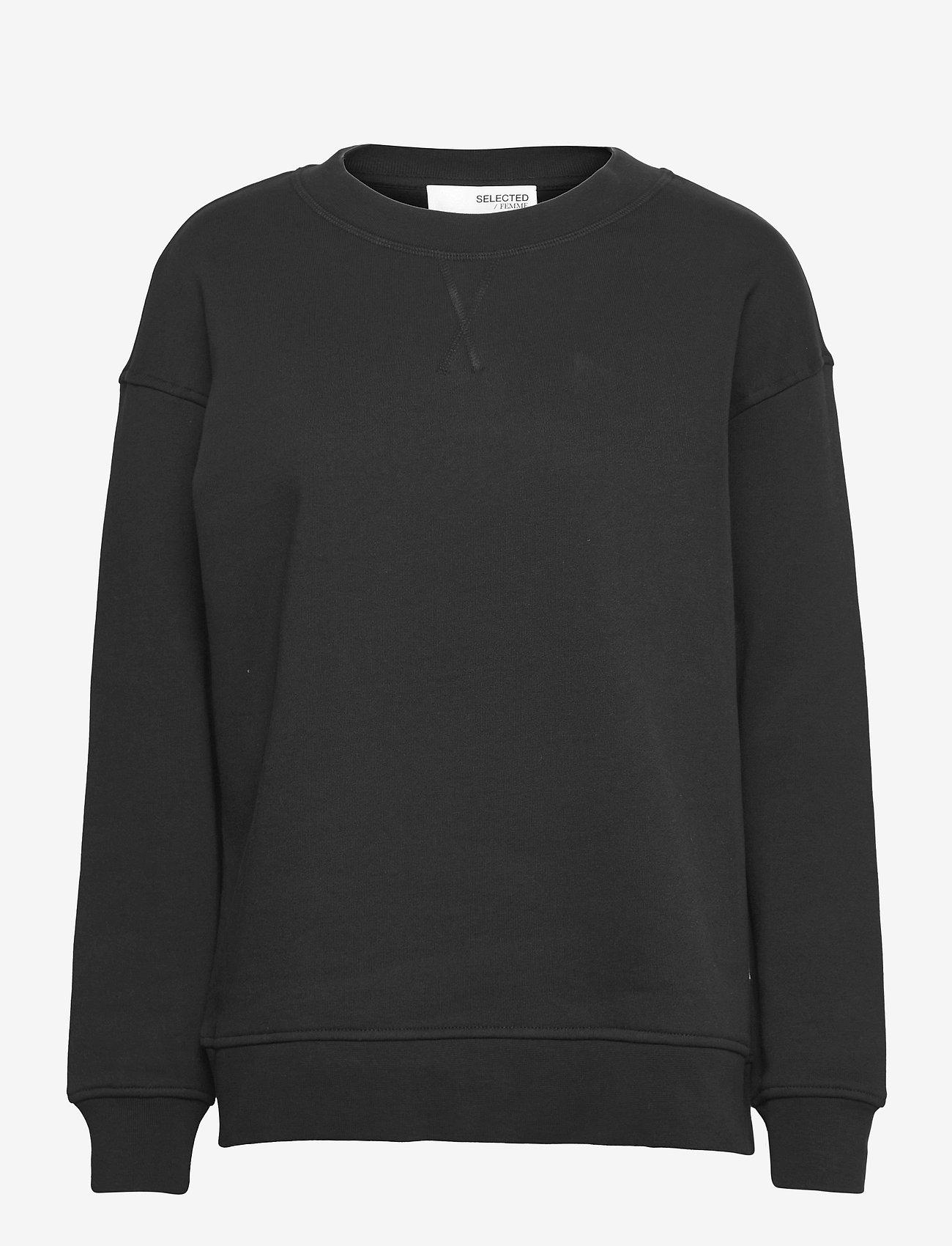 Selected Femme - SLFSTASIE LS SWEAT - sweatshirts & hoodies - black - 0