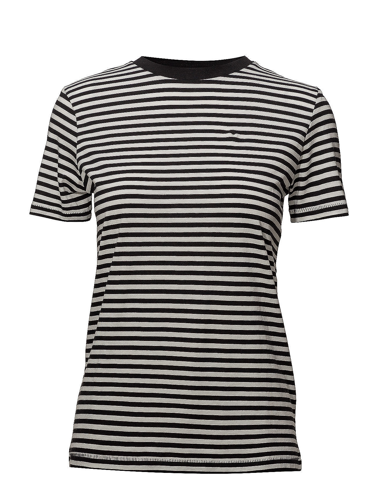 Selected Femme Slfmy Perfect Ss Tee Box Cut-Stri. Noos T-shirts & Tops Short-sleeved Svart Selected Femme