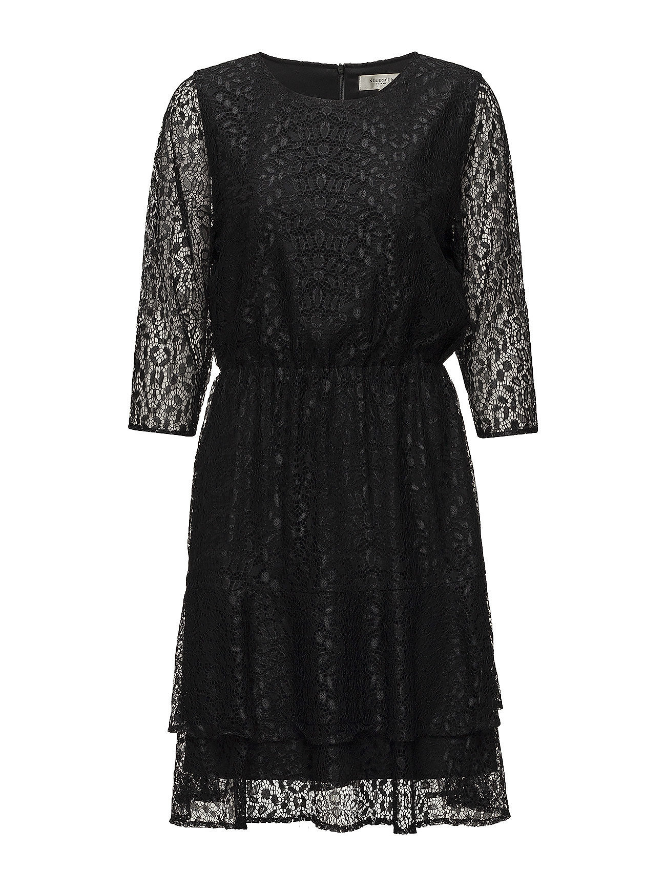 Selected Femme SFMARCIA 3/4 LACE DRESS - BLACK