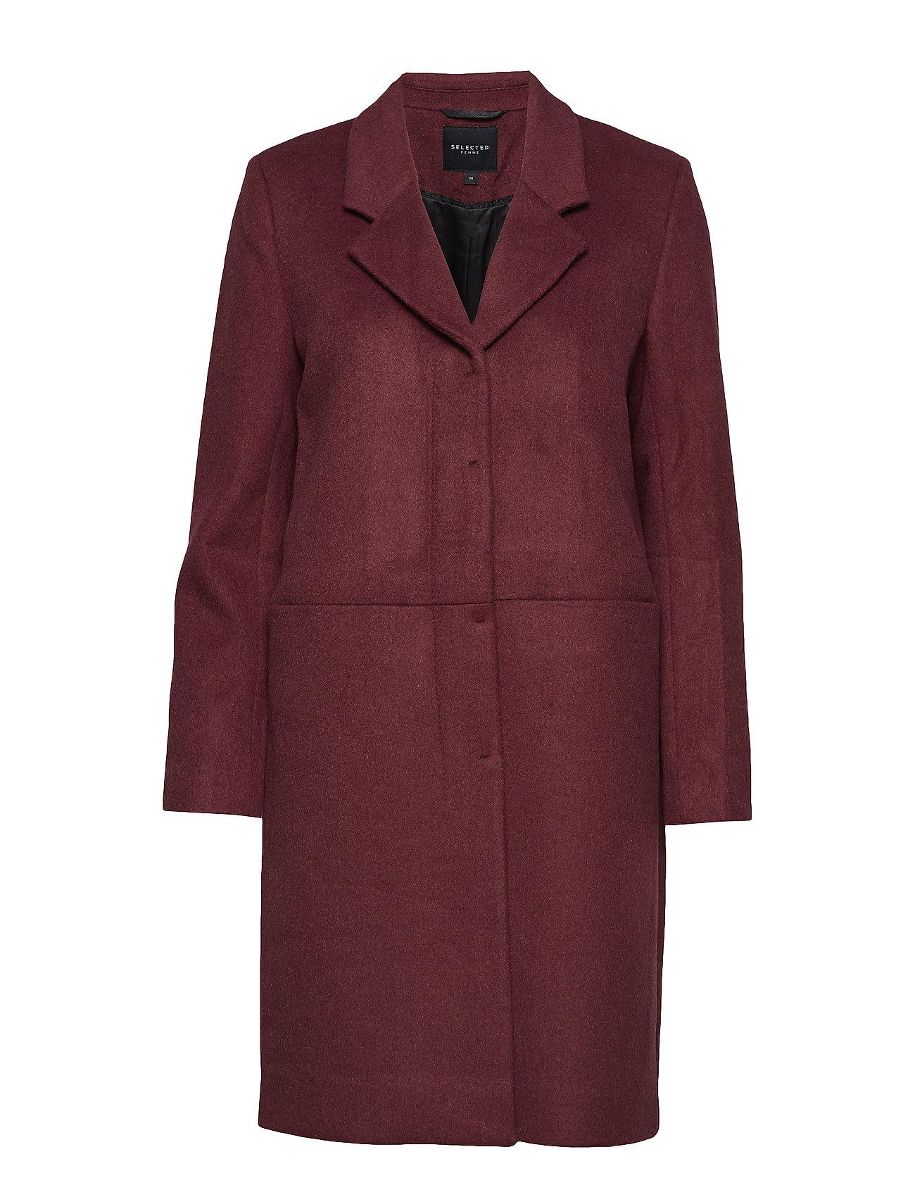 Selected Femme SLFBOA WOOL COAT B - EARTH RED