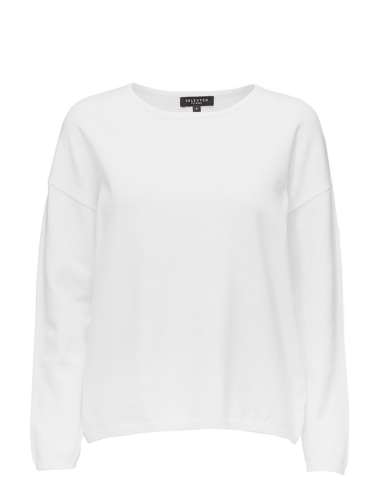 Selected Femme SLFMINNA LS KNIT O-NECK NOOS - SNOW WHITE