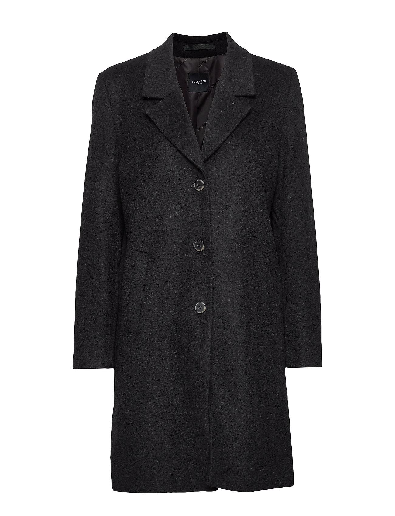 Selected Femme SLFSASJA WOOL COAT NOOS B - BLACK