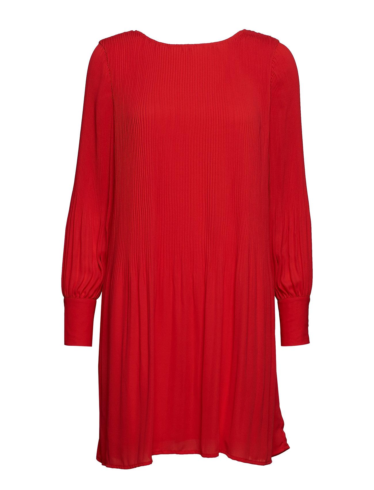Selected Femme SLFPIPER LS SHORT PLISSE DRESS B - TRUE RED