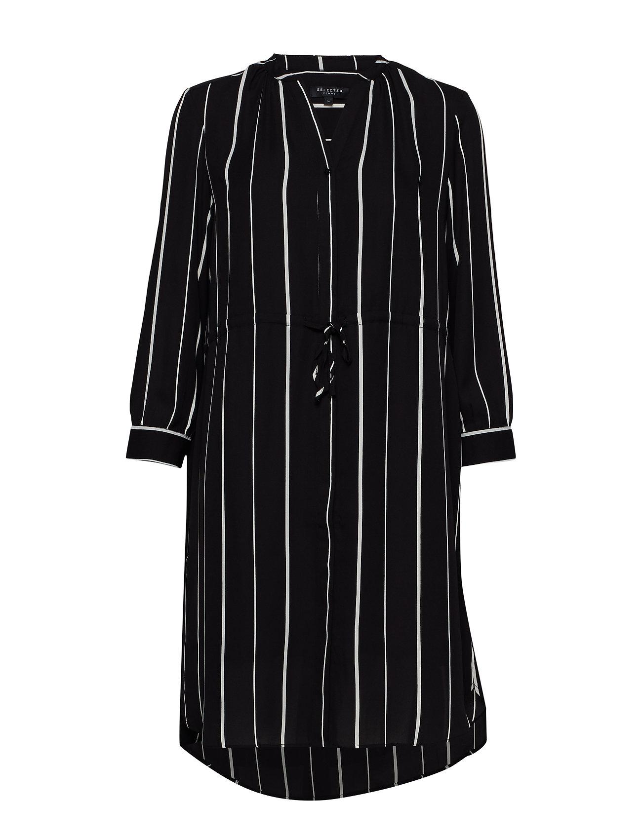 Selected Femme SLFDAMINA 7/8 AOP DRESS B - BLACK