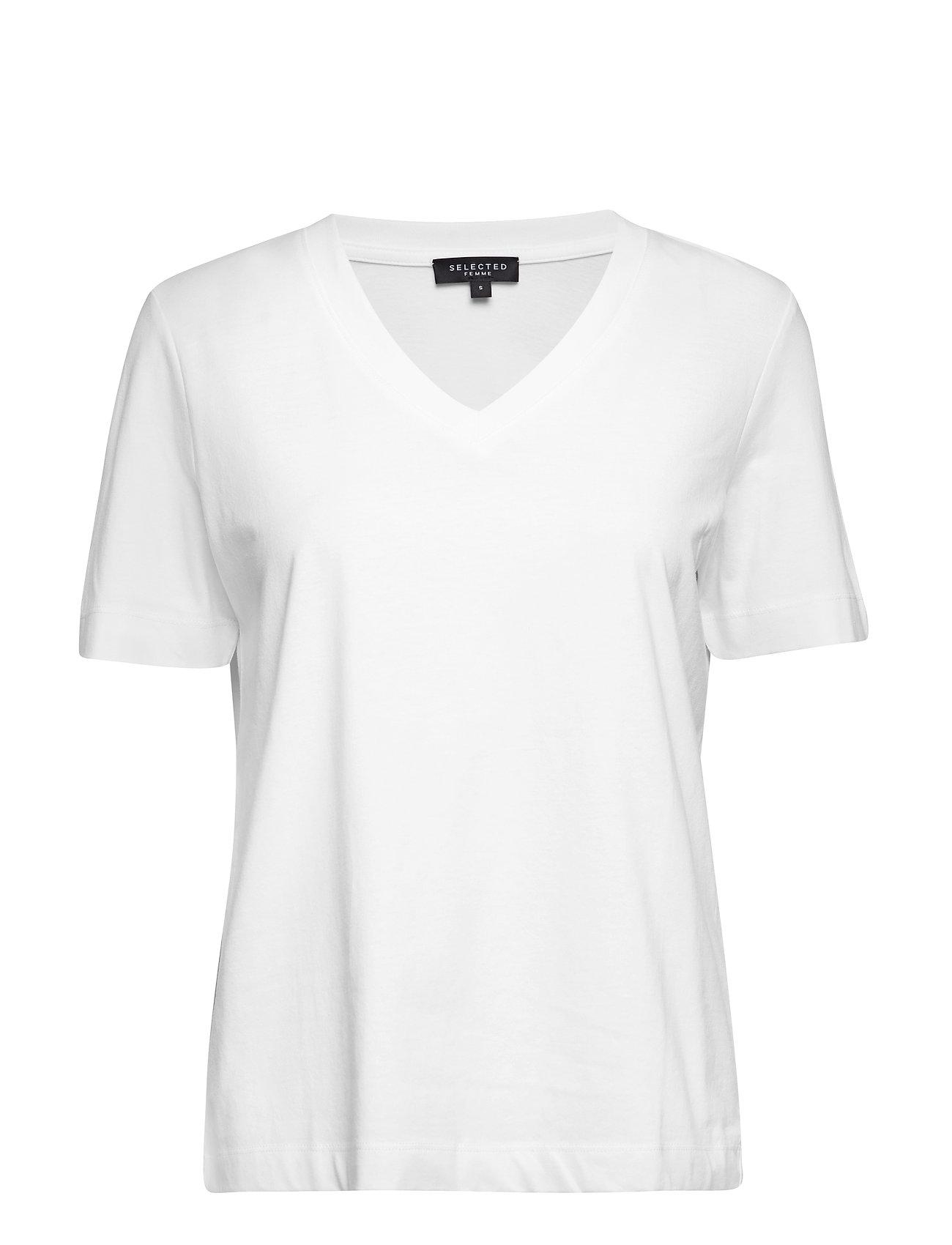 Selected Femme SLFSTANDARD SS V-NECK TEE NOOS - BRIGHT WHITE
