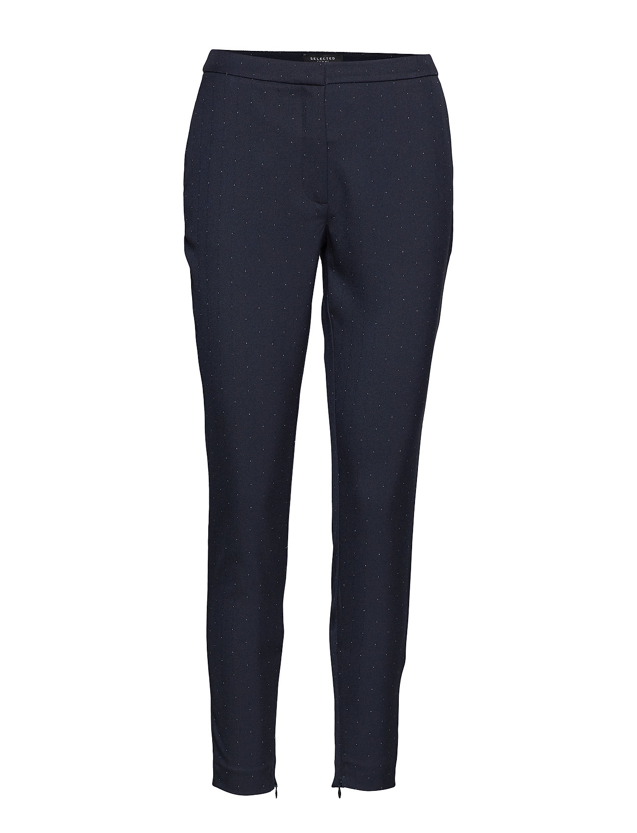 Selected Femme SLFMUSE MW CROPPED  PANT DOT B - DARK SAPPHIRE