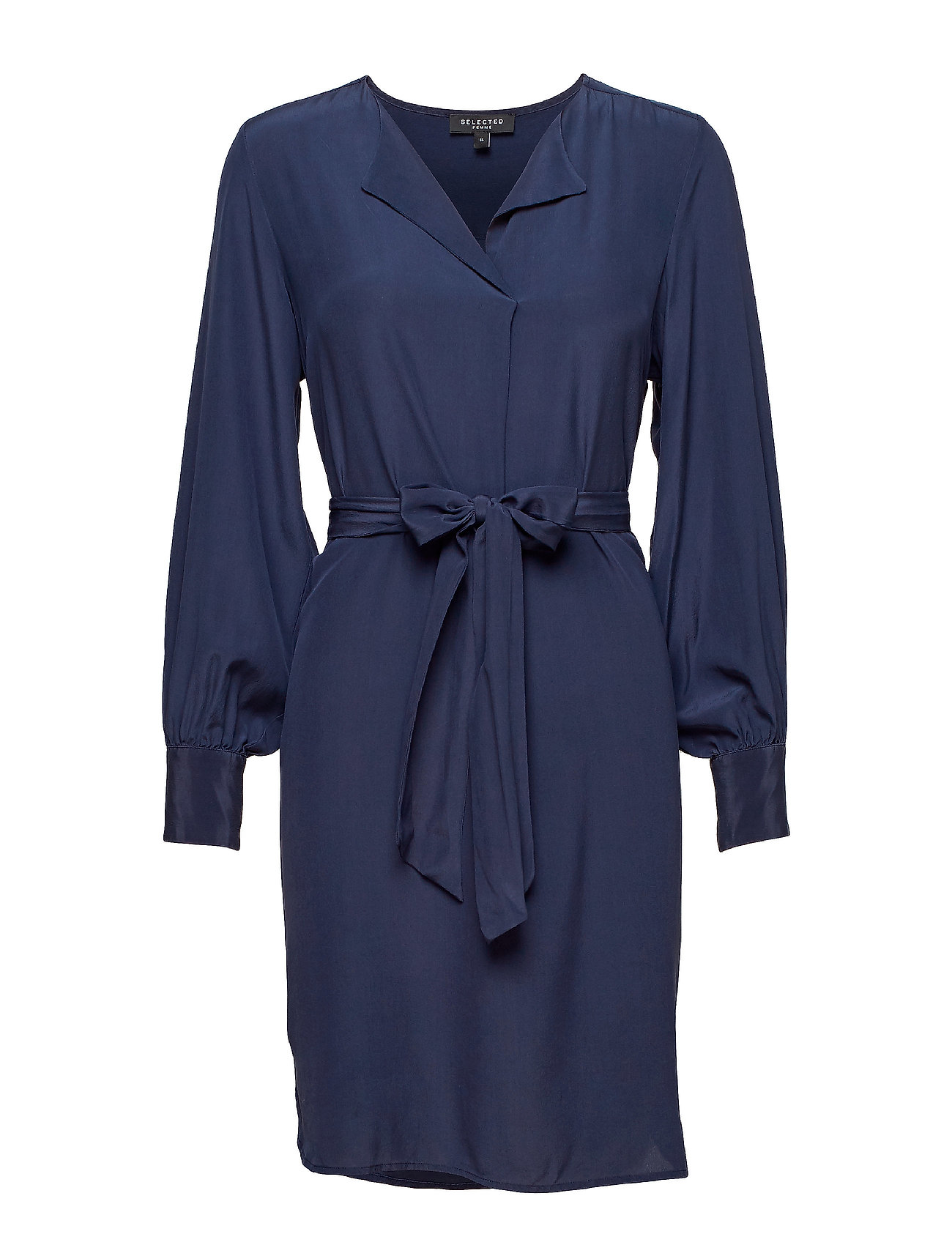 SELECTED Slfodette Ls Silk Short Dress B Kurzes Kleid Blau SELECTED FEMME