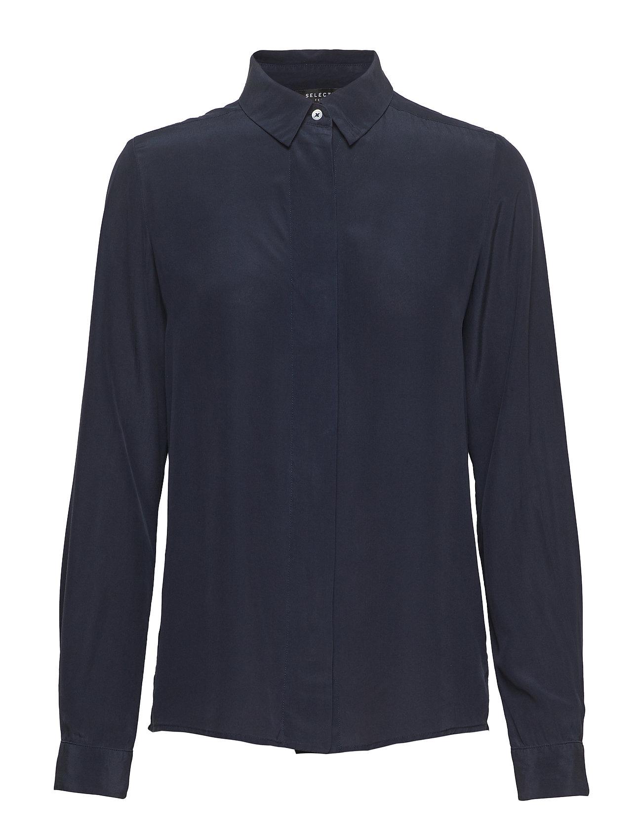 SELECTED Slfodette Ls Silk Shirt B Bluse Langärmlig Blau SELECTED FEMME