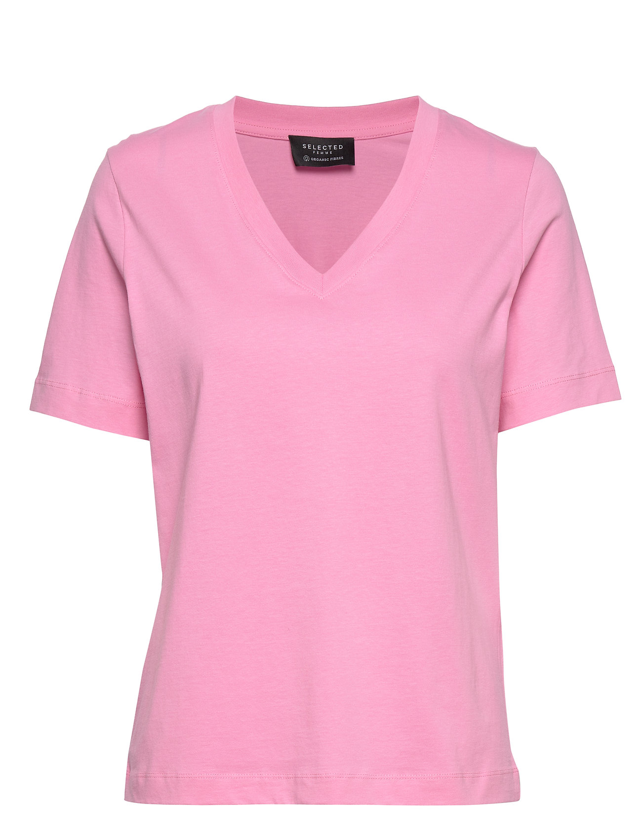 Selected Femme SLFSTANDARD SS V-NECK TEE SEASONAL - ROSEBLOOM