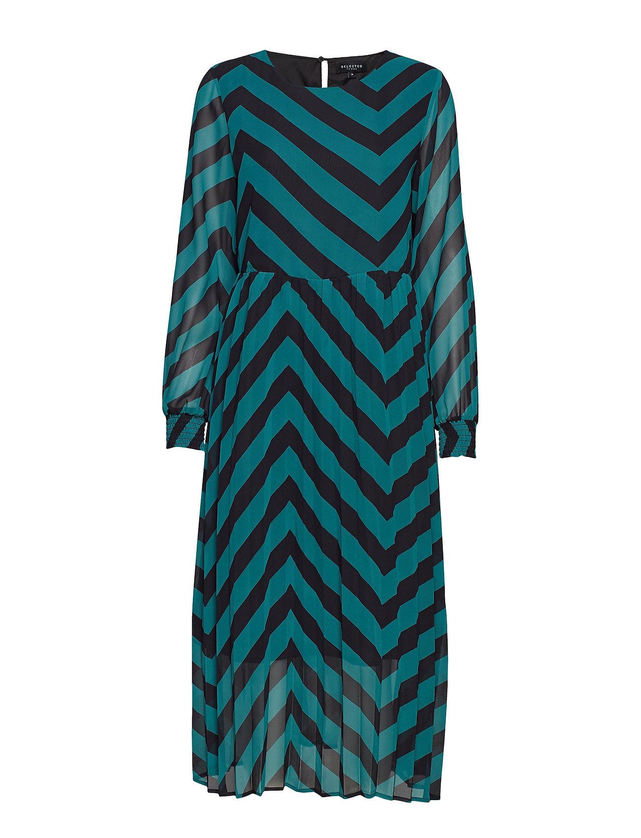 Selected Femme SLFELLA LS PLISSE DRESS EX - TEAL GREEN