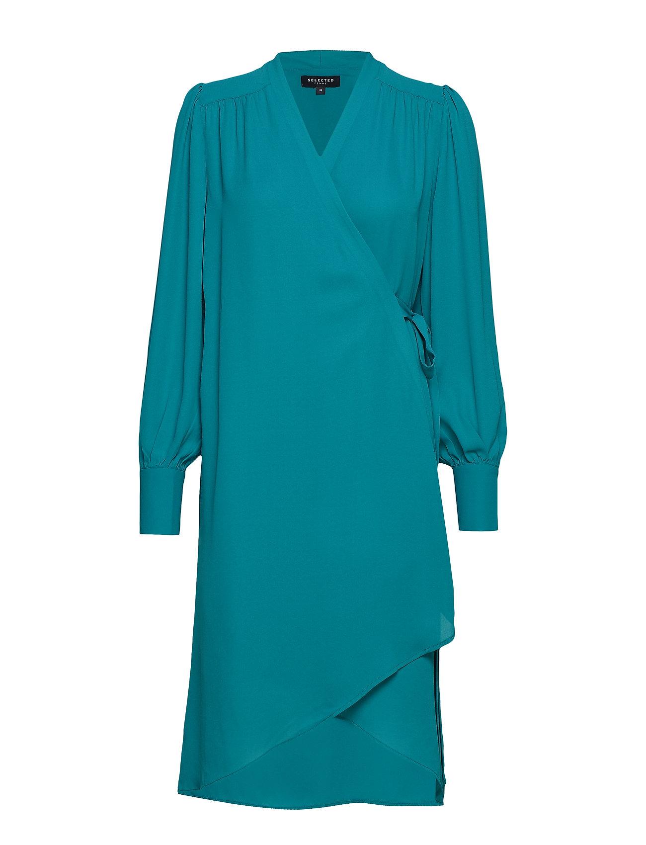 Selected Femme SLFALVA LS WRAP DRESS EX - TEAL GREEN