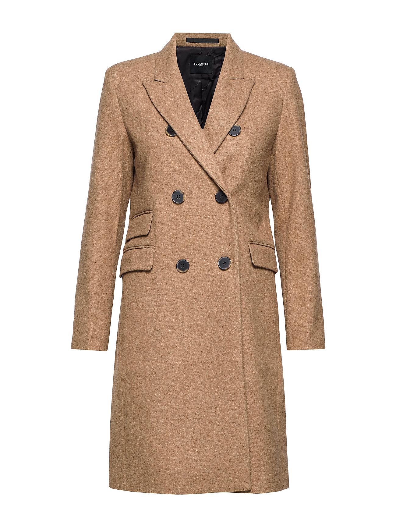 Selected Femme SLFBINA WOOL COAT B CAMP - AMPHORA