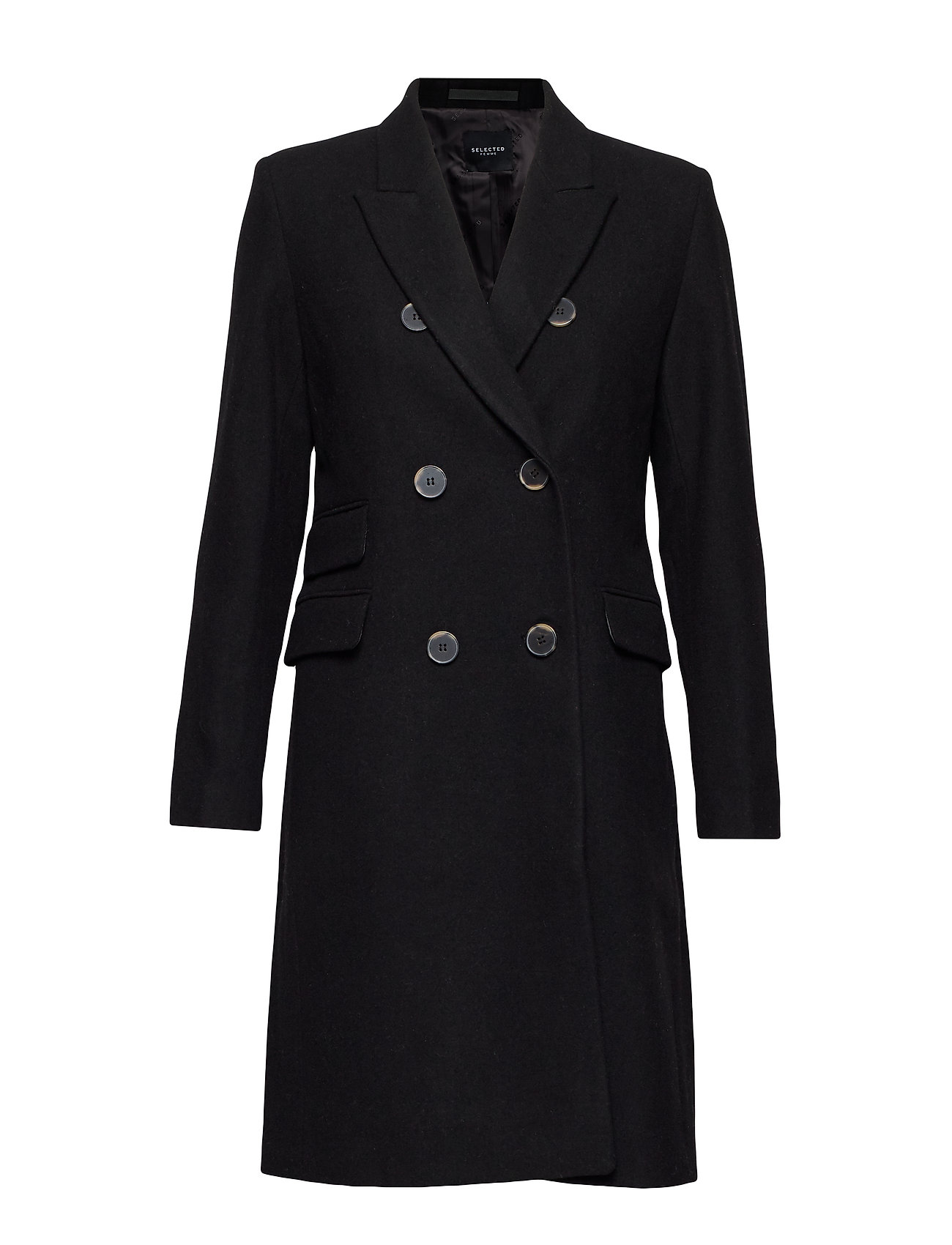 Selected Femme SLFBINA WOOL COAT B CAMP - BLACK