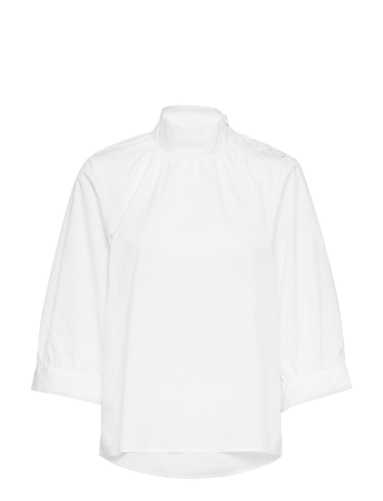 Selected Femme SLFNESSA 3/4 HN TOP B - SNOW WHITE