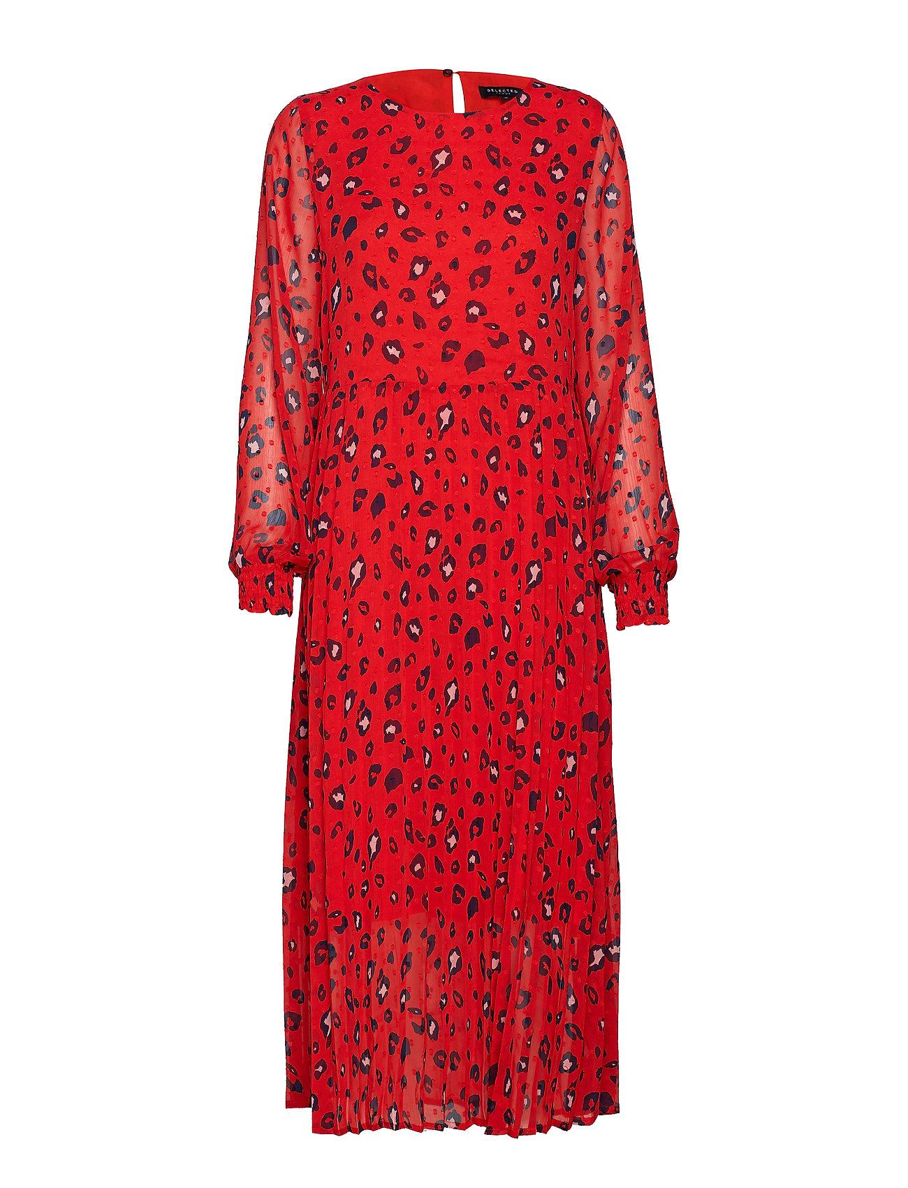 Selected Femme SLFBELLA LS PLISSE DRESS EX - TRUE RED