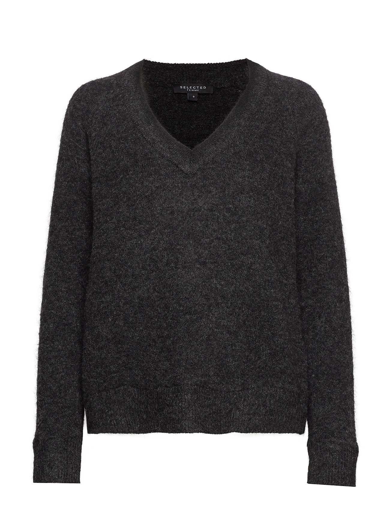 Selected Femme SLFLANNA LS KNIT V-NECK NOOS - DARK GREY MELANGE