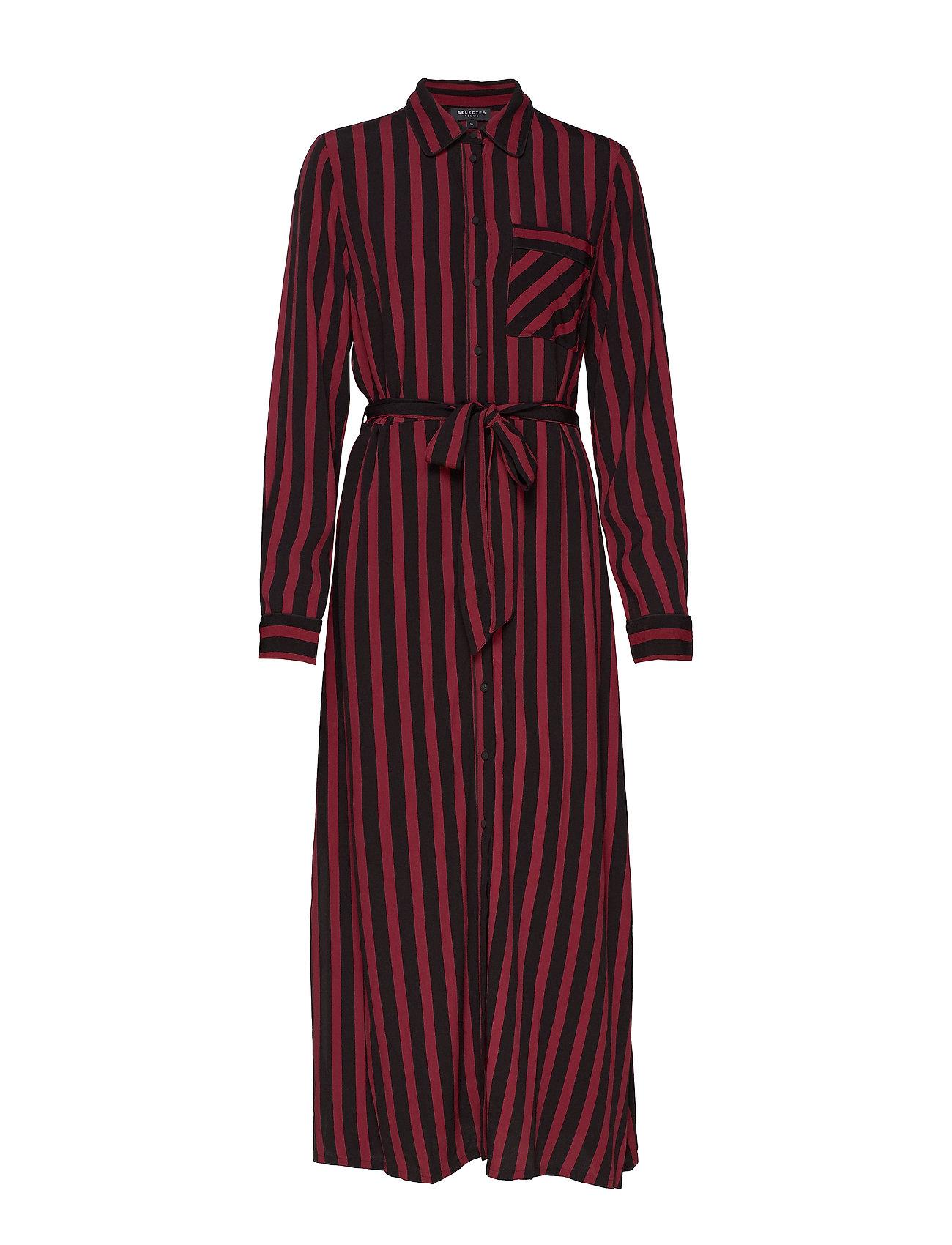 Selected Femme SLFFLORENTA LS AOP ANKLE SHIRT DRESS - BLACK