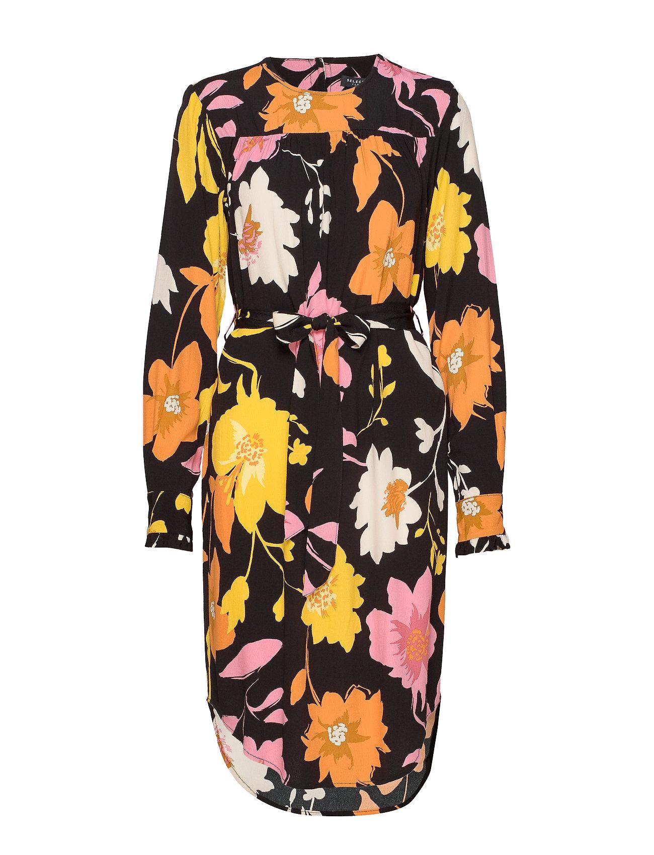 Selected Femme SLFCADENCE-DYNELLA LS SHORT AOP  DRESS B - BLACK