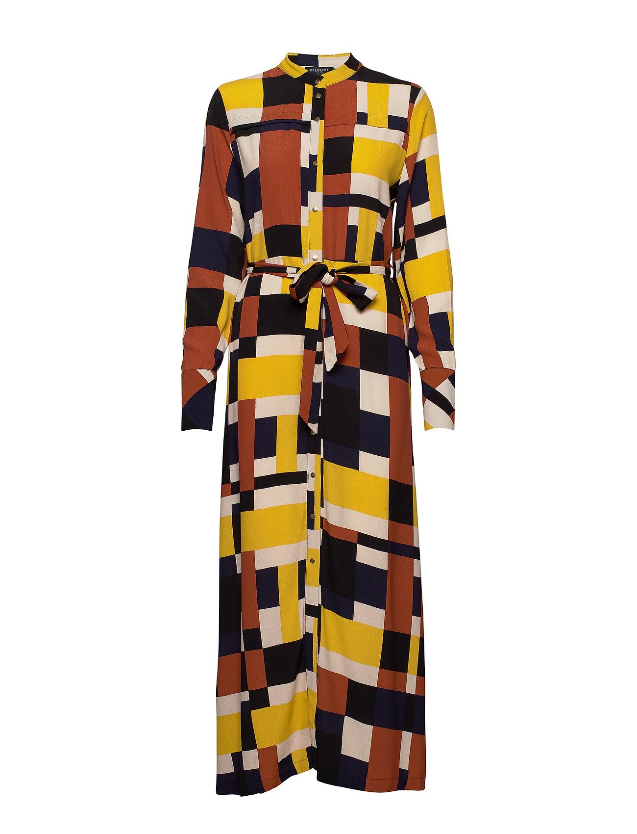 Selected Femme SLFHADLEY-FLORENTA LS AOP ANKLE DRESS B - GINGER BREAD