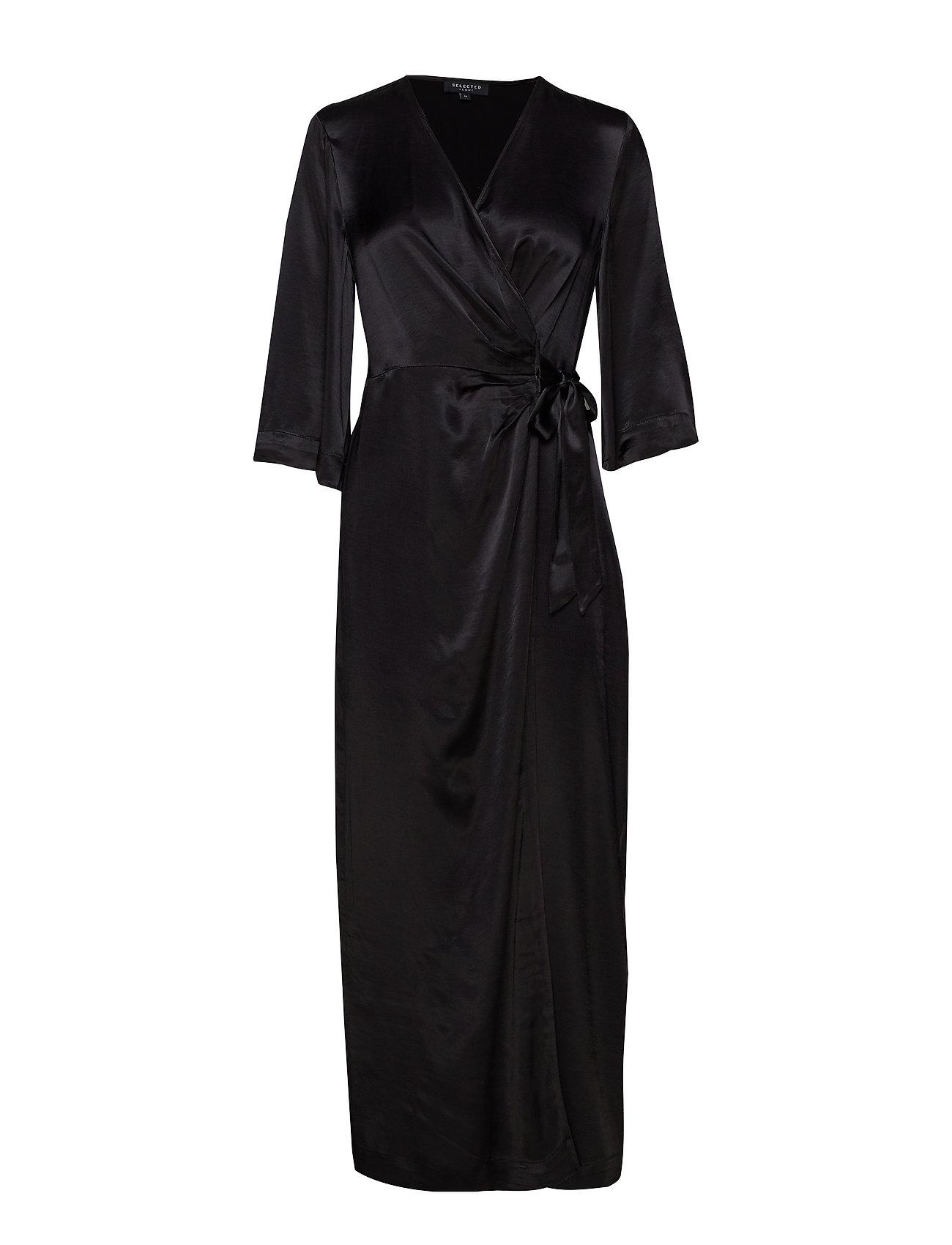 Selected Femme SLFDAKOTA 3/4 ANKLE WRAP DRESS CAMP - BLACK