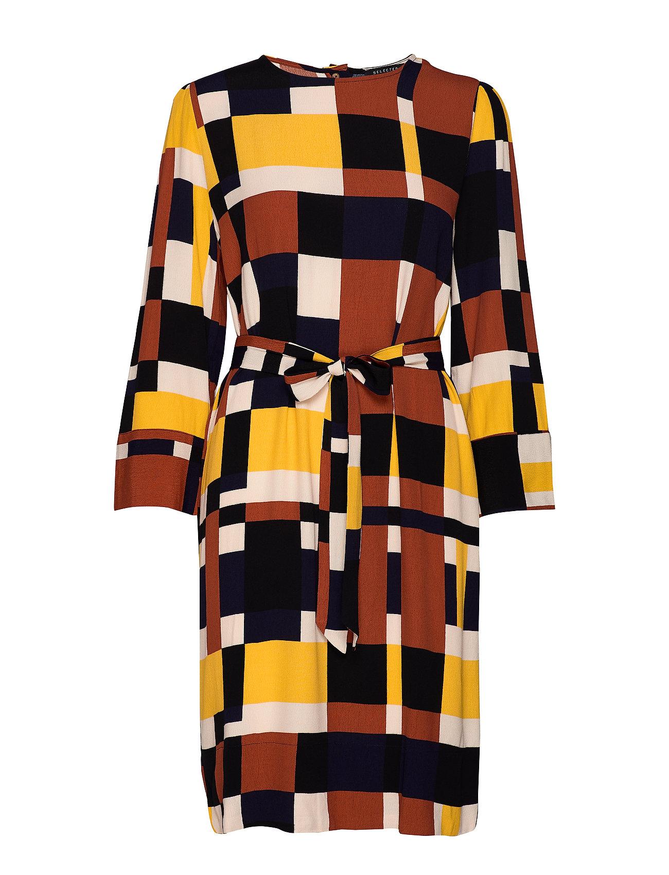 Selected Femme SLFHADLEY-TUNNI 7/8 AOP SHORT DRESS B - GINGER BREAD