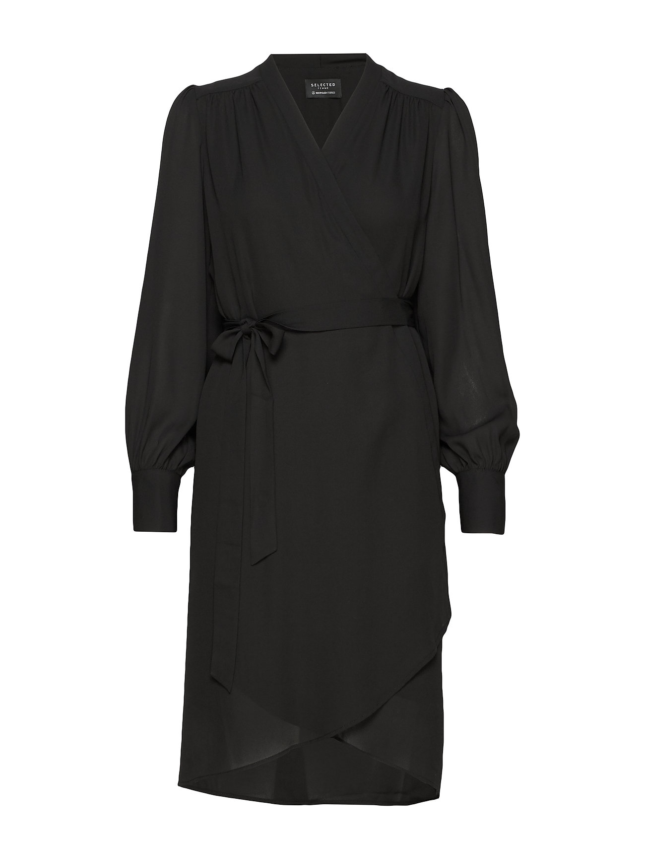 Selected Femme SLFALVA LS WRAP DRESS NOOS - BLACK