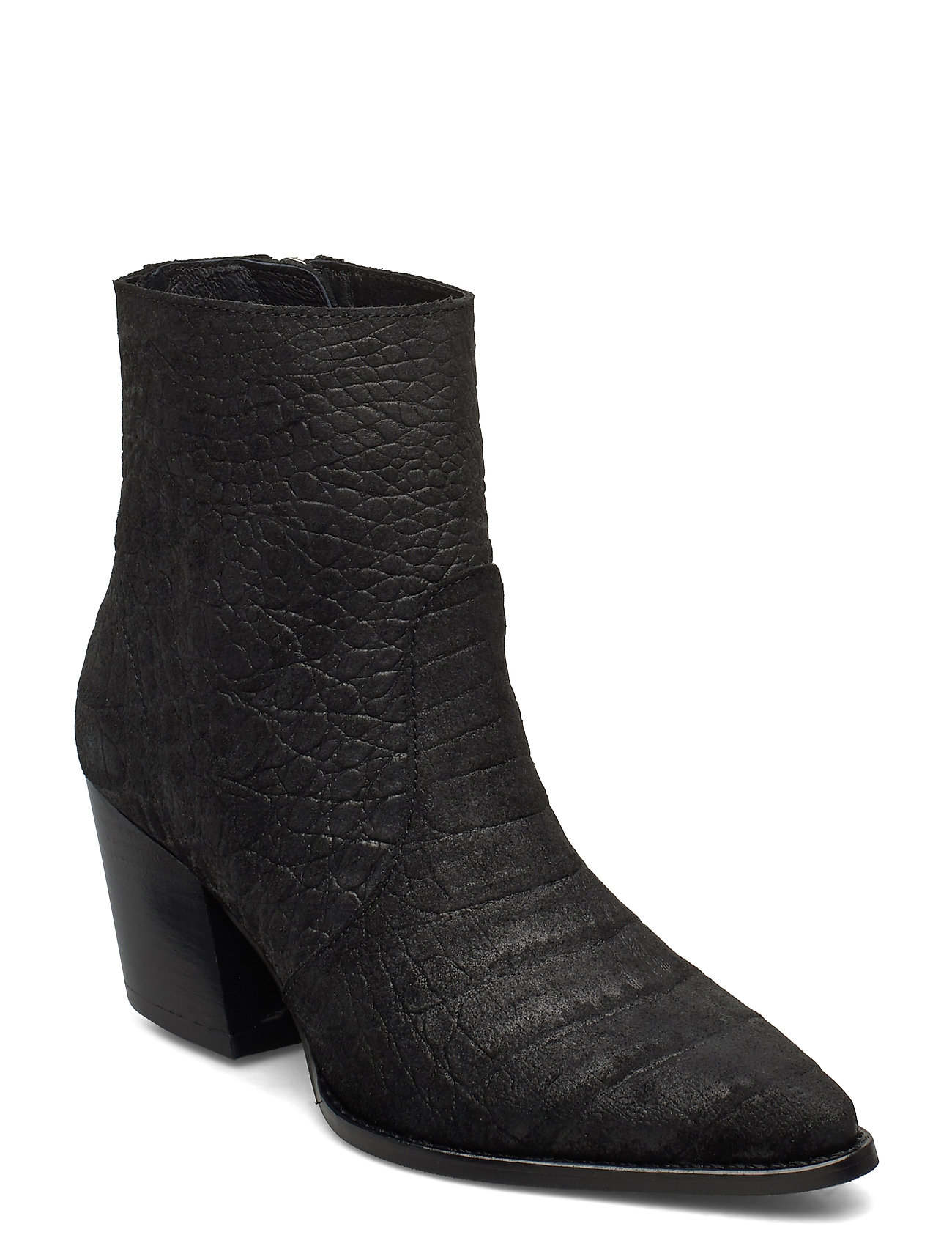 Image of Slfjulie Suede Croco Boot B Shoes Boots Ankle Boots Ankle Boot - Heel Sort Selected Femme (3430127197)