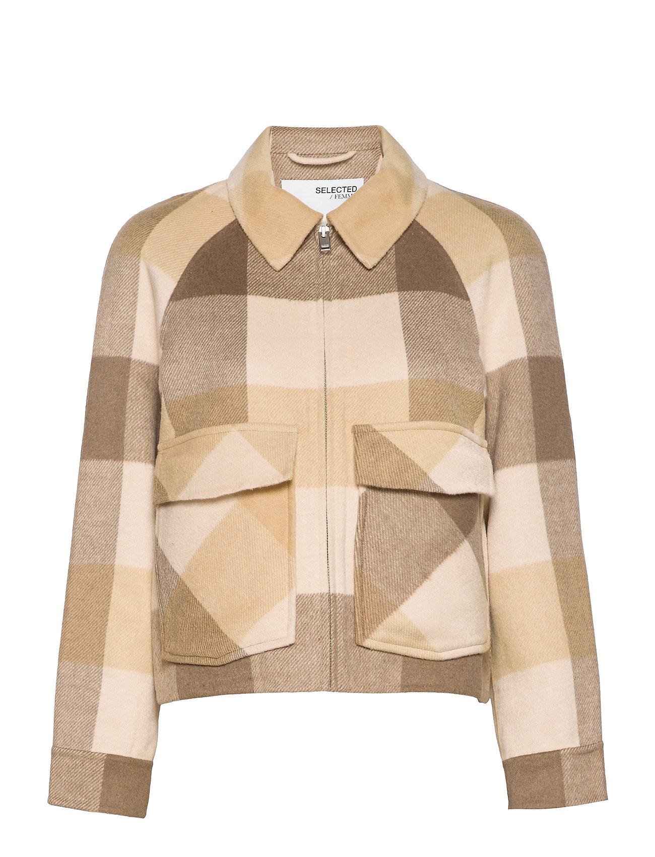 Slfreggy Short Handmade Jacket Check B Uldjakke Jakke Brun Selected Femme