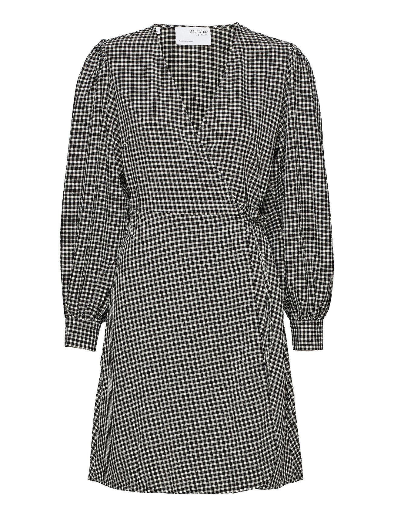 Slfcharlie Ls Short Wrap Dress B Knælang Kjole Sort Selected Femme