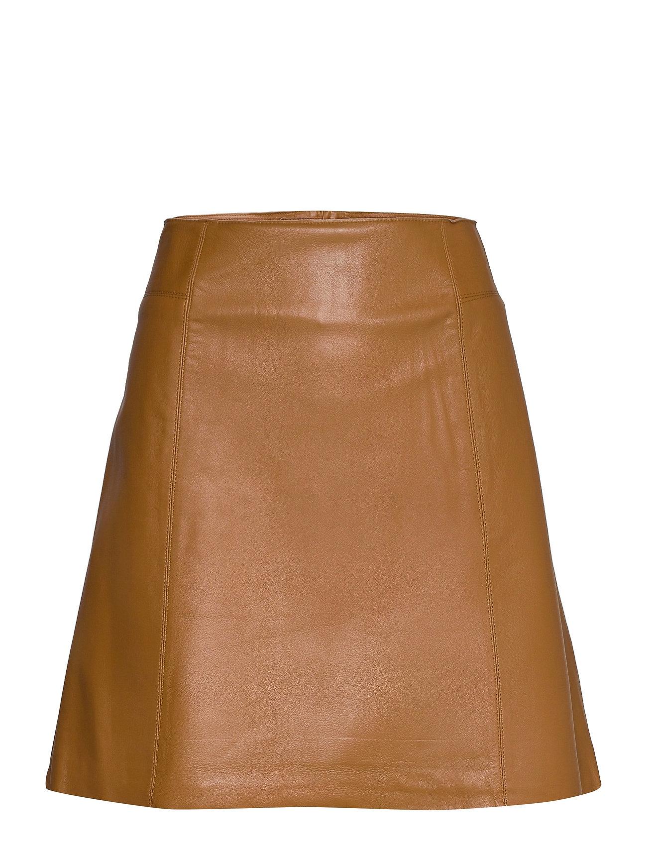 Slfibi Leather Skirt B Kort Nederdel Brun Selected Femme