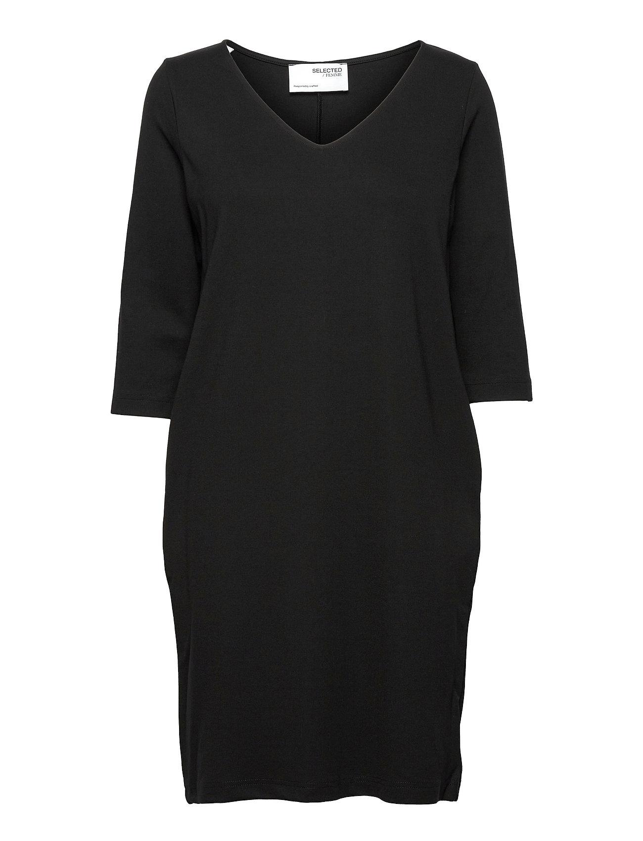 Slfcaro-Tunni 3/4 Short Dress B Knælang Kjole Sort Selected Femme