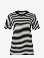 Selected Femme - SLFMY PERFECT SS TEEOX CUT-STRI - t-krekli - black - 0