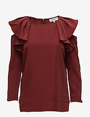 Selected Femme - SFKASSIA COLD SHOULDER LS TOP - long sleeved blouses - syrah - 0
