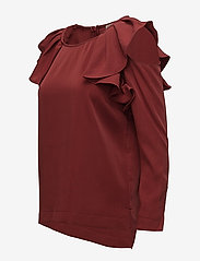 Selected Femme - SFKASSIA COLD SHOULDER LS TOP - long sleeved blouses - syrah - 2